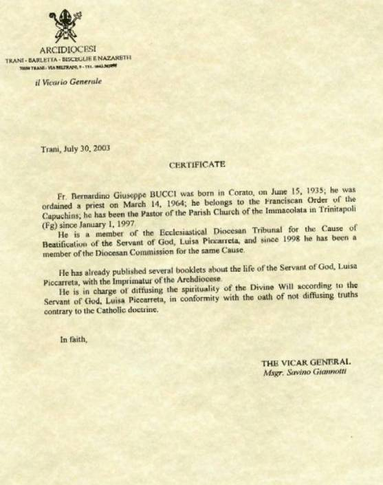 Letters from trani archdiocese luisa piccarreta certificate yadclub Choice Image